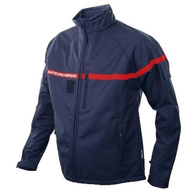 veste softshell pompier en bleu marien ou rouge